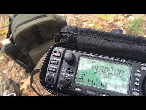 Icom IC 703+ Plus QRP Field Radio Portable using Icom AH-703 portable whip antenna-Camping